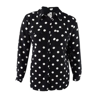 Ny Collection Women's Plus Size Printed Utility Shirt - noir radioactive