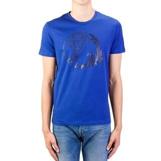 Versace Collection Men's Cotton Medusa Logo Graphic Crewneck T-Shirt Blue