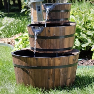 "Link to Sunnydaze Rustic 3-Tier Wood Barrel Outdoor Water Fountain Garden Feature - 30"" Similar Items in Outdoor Decor"