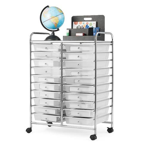 20-Drawer Organizer Cart Office School Storage Cart Rolling Drawer