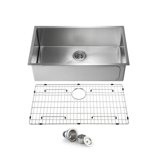 Handcrafted Undermount Single Bowl Stainless Steel Kitchen Sink. Opens flyout.