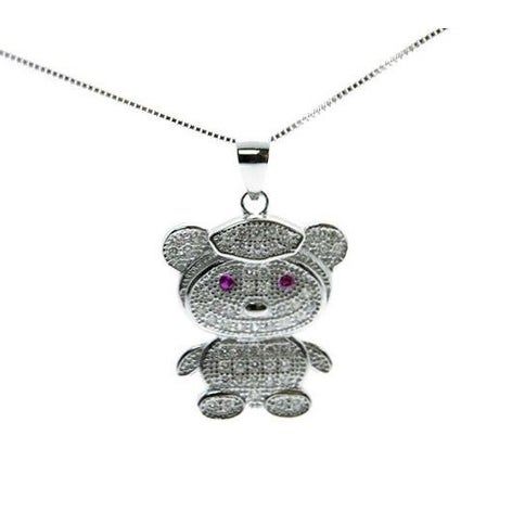 925 Sterling Silver Teddy Bear Pendant with Cubic Zirconia and Italin Made 925 Sterling Silver Box Chain