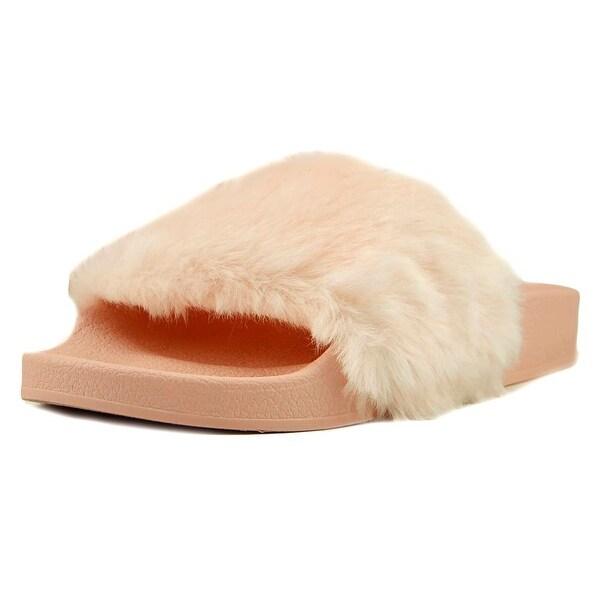 9e363246f6e Shop Steve Madden Softey Youth Open Toe Faux Fur Pink Slides Sandal ...