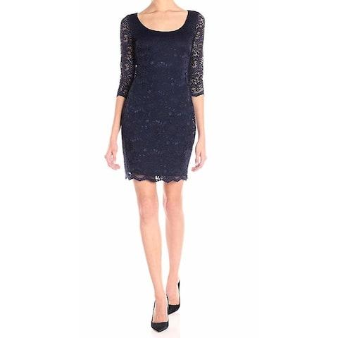 Jessica Simpson Women's Dress Navy Blue Size 12 Sheath Scoop Neck