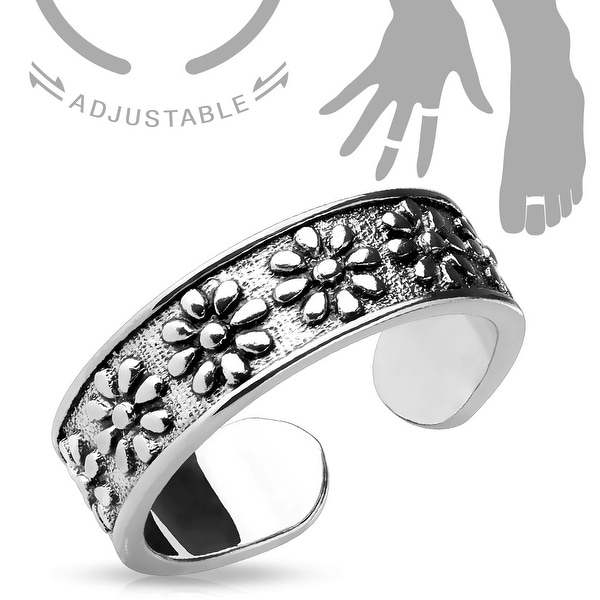Flowers Adjustable Toe Ring/Mid Ring (Sold Ind.)