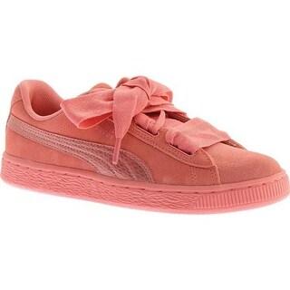 PUMA Girls' Suede Heart Jr. Sneaker Shell Pink/Shell Pink