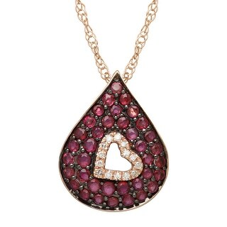 1 ct Natural Ruby Cutout Pendant with Diamonds in 14K Rose Gold - Red