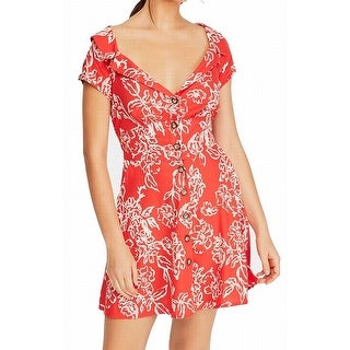 Link to Free People Women's Dress Red Size 12 Floral Print Tie Back Sheath Similar Items in Dresses