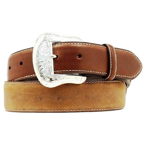 Nocona Western Belt Mens Leather Top Hand Laced Rich Earth