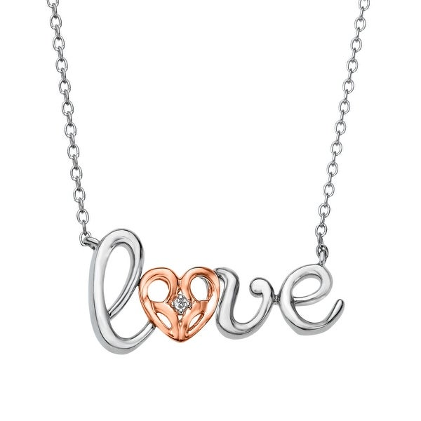 Jessica Simpson 'Love' Necklace with Diamond in Sterling Silver