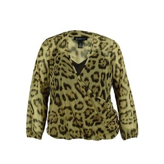 INC Women's Animal Print Long Sleeve Blouse - fancy leopard