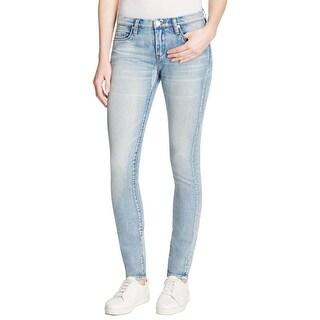 Blank NYC Womens Skinny Jeans Faded Raw Hem
