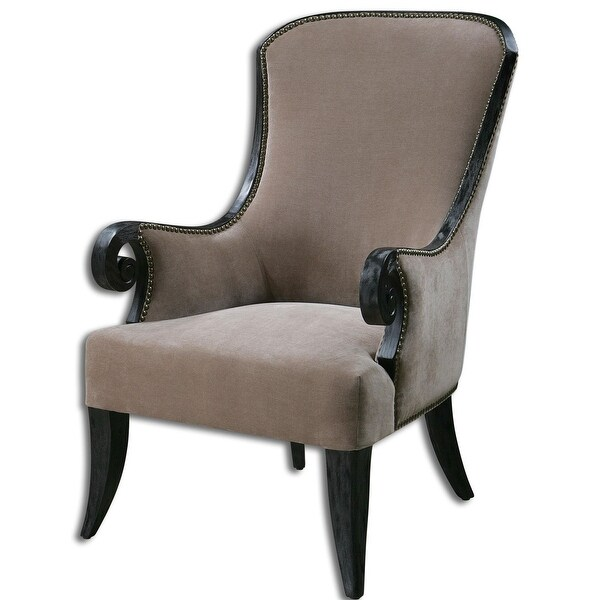 Uttermost 23113 Kandy High Back Armchair - Taupe Velvet with Black Poplar. Opens flyout.
