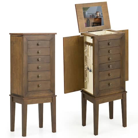 Standing Jewelry Cabinet Armoire with Makeup Mirror and Drawers - Brown