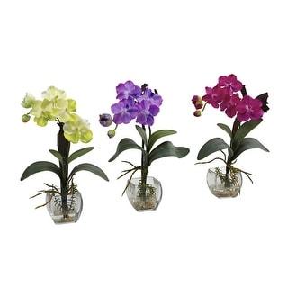 Nearly Natural Mini Vanda Orchid Arrangement - Set of 3