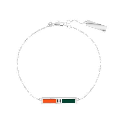 University Of Miami Sterling Silver Diamond Bar Chain Bracelet In Orange & Green