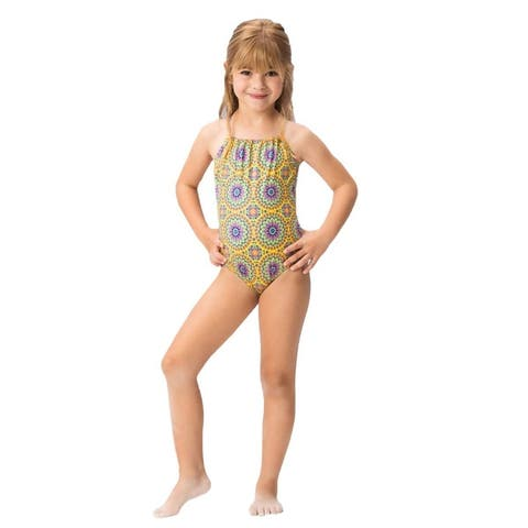 OndadeMar Girls Multi Color Sunflower Criss Cross Straps 1 Pc Swimsuit