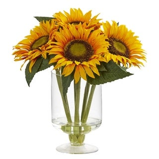"Nearly Natural 12"" Sunflower Artificial Arrangement in Vase"
