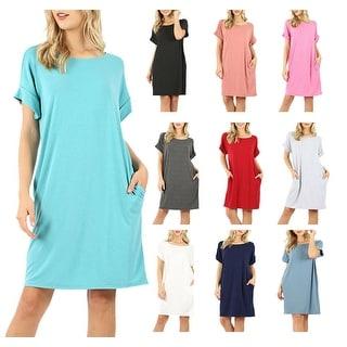 NioBe Clothing Womens Rolled Short Sleeve Tunic Shirt Dress