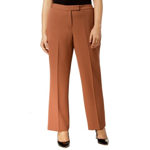 Kasper Women's Plus Straight Leg Dress Pants Stretch