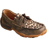 Twisted X Boots Children's YDM0028 Boat Shoe Distressed/Leopard Leather