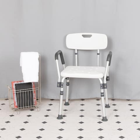 300 Lb. Capacity Quick Release Back & Arm White Shower Chair