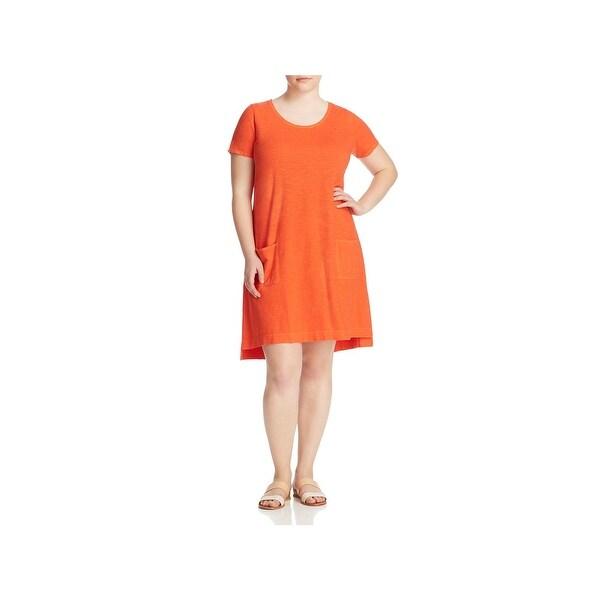 d889256f3f Shop Eileen Fisher Womens Plus T-Shirt Dress Scoop Neck Vented Hem ...