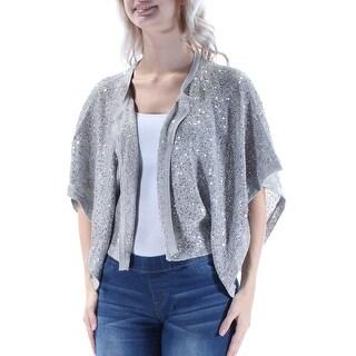 Womens Silver Dolman Sleeve Open Casual Top Size S