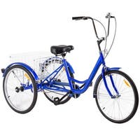 Costway 24'' Single Speed 3-wheel Bicycle Adult Tricycle Seat Height Adjustable w/ Bell