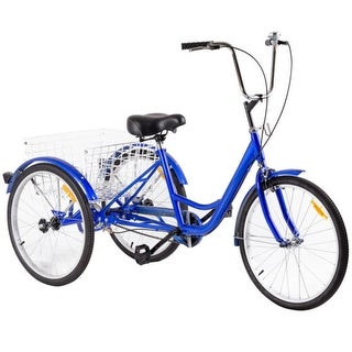 Costway 24'' Single Speed 3-wheel Bicycle Adult Tricycle Seat Height Adjustable w/ Bell - Blue