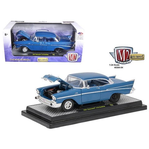 1957 Chevrolet 210 Hardtop Sleeper- Hot Rod/Drag Car Harbor Blue Metallic 1/24 Diecast Model Car by M2 Machines