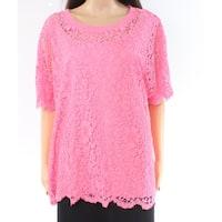 Tommy Hilfiger Pink Floral Lace Women's Size 1X Plus Knit Top