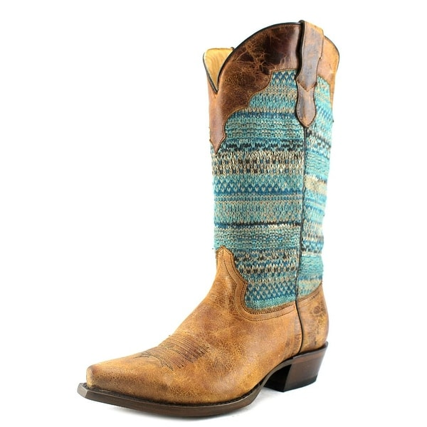 Roper Arnette Pointed Toe Canvas Western Boot