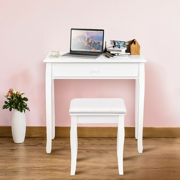 Shop Gymax Bedroom Vanity Dressing Table Set W/ 3 Storage ...