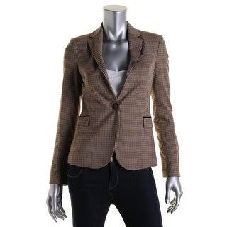 Zara Basic Womens Plaid Elbow Patches One-Button Blazer