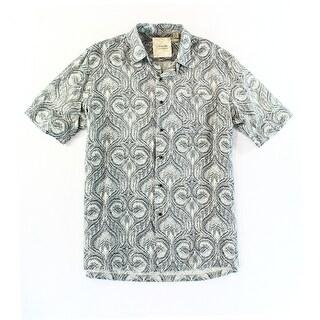 Tasso Elba NEW Gray Mens Size Medium M Paisley Button Down Silk Shirt
