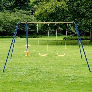 Costway Metal A-Frame Four Seat Swing Set Fun Play Chair Kids Children Backyard Outdoor