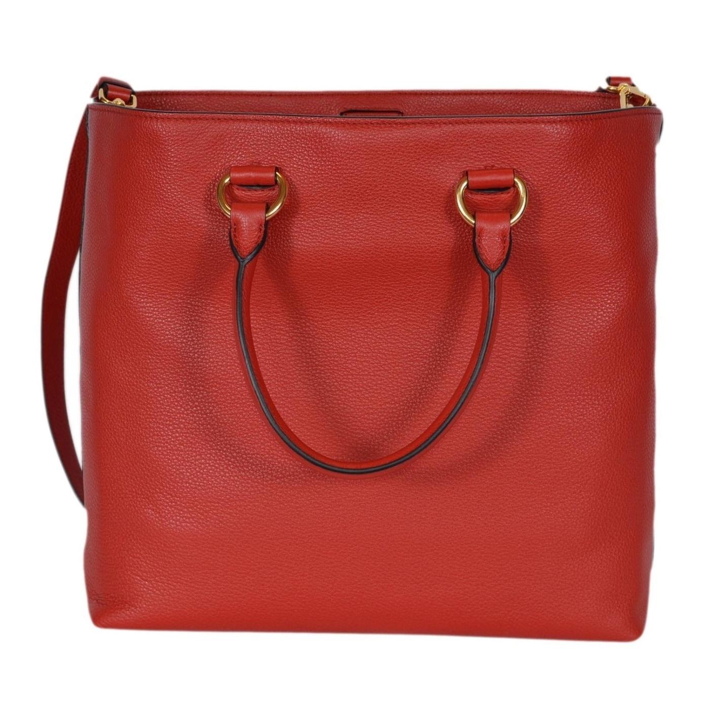 0d504f5eebd Prada 1BG865 Red Leather Vitello Phenix Convertible Tote Handbag Shopper -  13.77