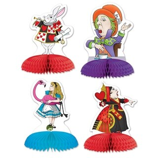 "Club Pack of 48 Alice In Wonderland Characters Party Table Mini Centerpieces 5"" - Multi"