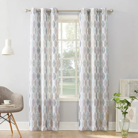 No. 918 Hotaru Leaf Print Semi-Sheer Grommet Curtain Panel