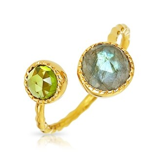 Bling Jewelry Labradorite Peridot Open Wrap Around Ring 925 Silver