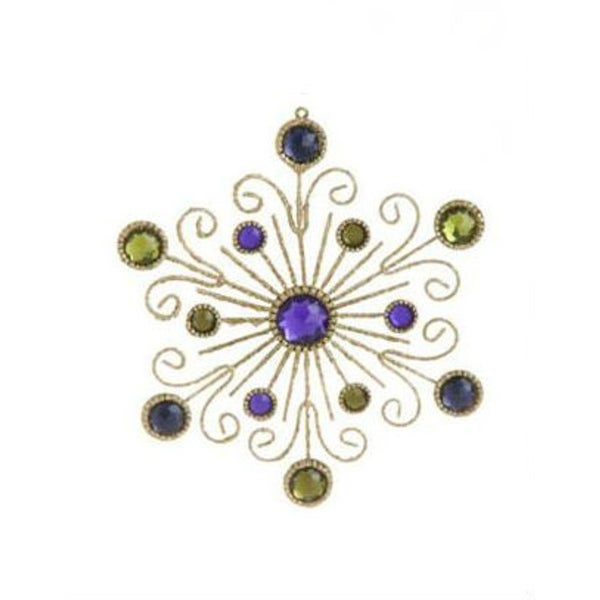 "6"" Victorian Inspired Gold Swirl and Purple Gem Snowflake Christmas Ornament"