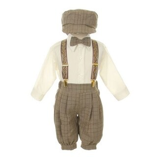 Rafael Little Boys Brown Overall Pants Knickers Vintage Outfit Tuxedo Set (3 options available)