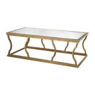 "Elk Home 114-114  Metal Cloud 20""H X 30""W X 60""L Coffee Table - Antique Gold Leaf / Mirror"