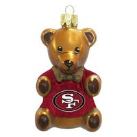 San Francisco 49ers 3.5 Blown Glass Teddy Bear Ornament""