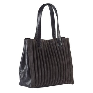 Women's Pleated Suede and Leather Purse - Tote Style Handbag - Dark Gray Charcoal - One size