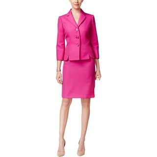 Le Suit Womens Skirt Suit Textured 3/4 Sleeves - 8