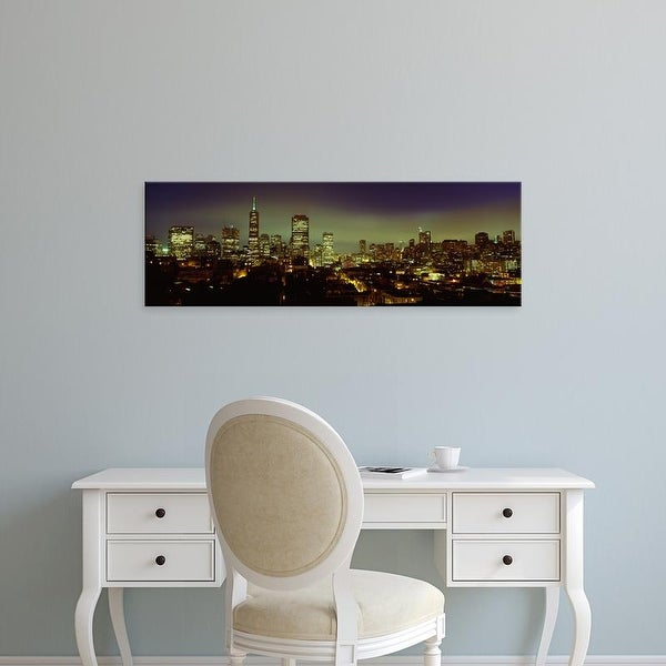 Easy Art Prints Panoramic Images's 'Buildings Lit Up At Night, San Francisco, California, USA' Premium Canvas Art
