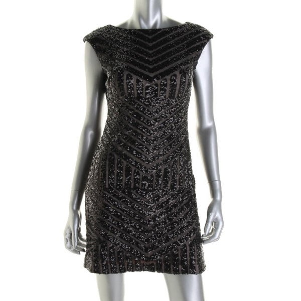 Lauren Ralph Lauren Womens Petites Cocktail Dress Mesh Sequined