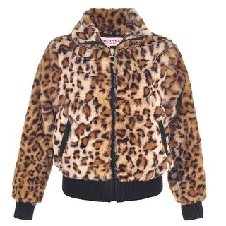 Urban Republic Little Girls Tan Leopard Pattern Plush Soft Zippered Jacket
